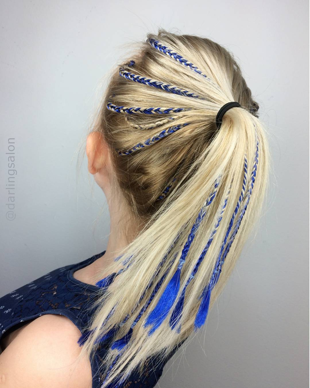 Trendy blue style Ponytail hairstyle