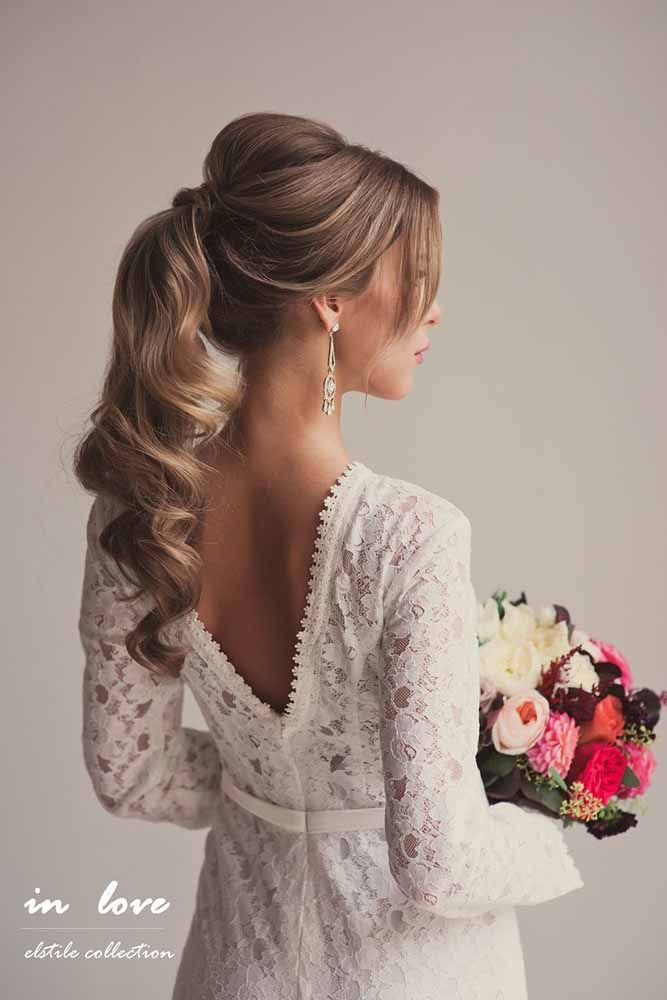 Wedding style for bridal Ponytail hairstyle