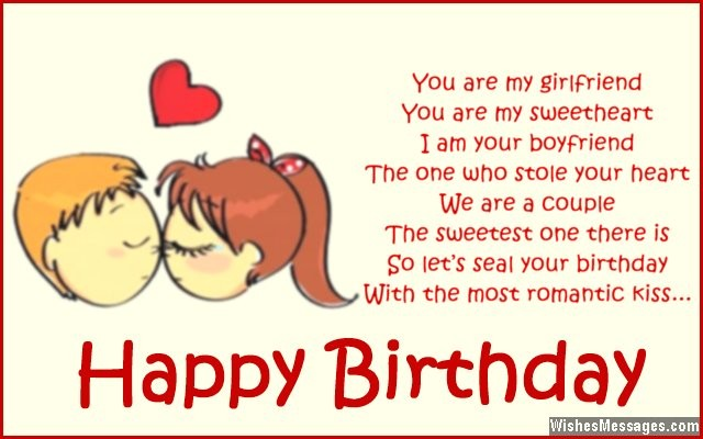 You are my Girlfriend you are my sweetheart birthday messages wish from lovely boyfriend