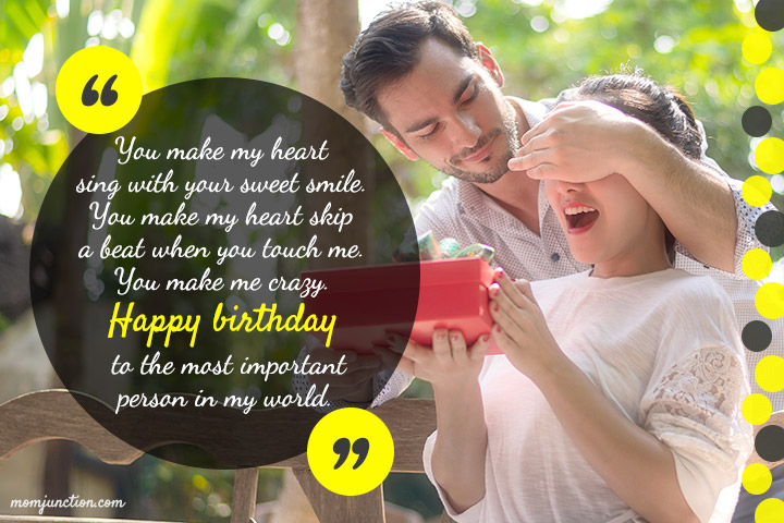 You make my heart sing with your sweet smile for dear Wife birthday wishes blessing