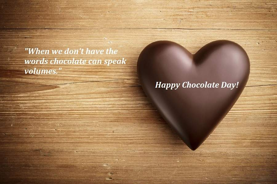 Happy Chocolate Day when we don't have the words fabulous image wish with heart for special one