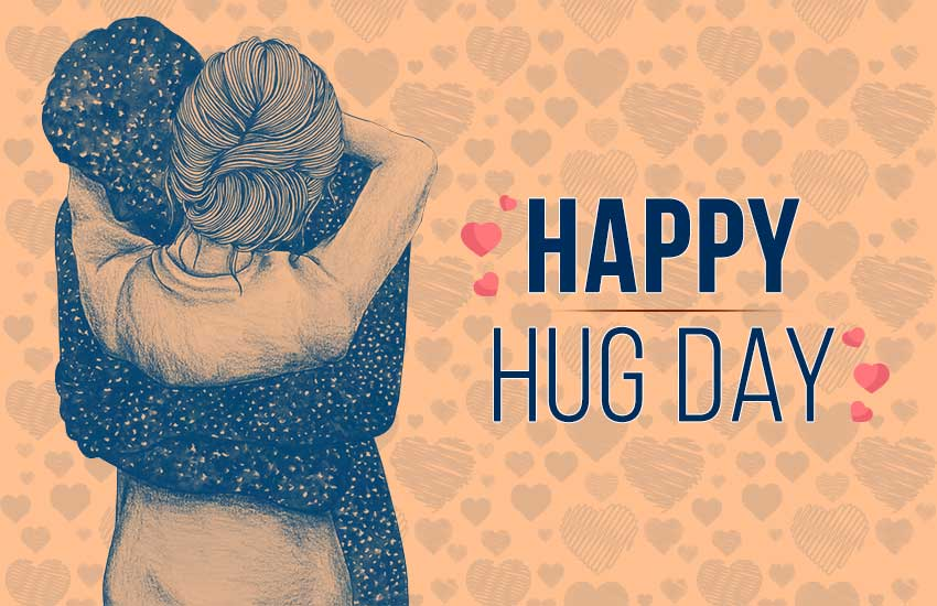 Happy Hug Day cute couple greeting card to your pretty girlfriend from boyfriend
