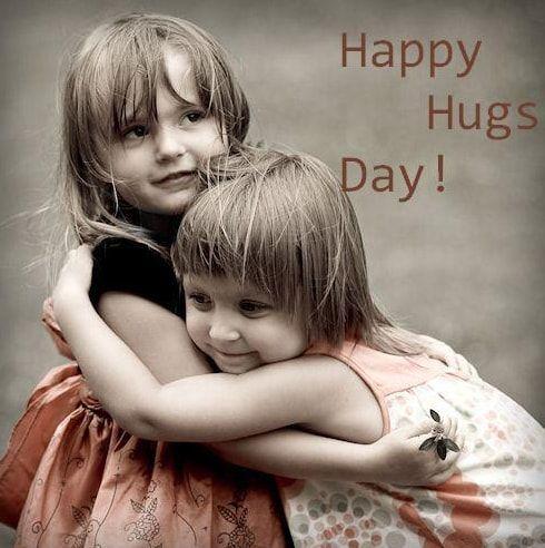 Happy Hug Day cute little girls with best memories hug images