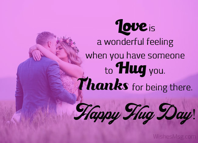 Happy Hug Day romantic lovers with love messages and greetings