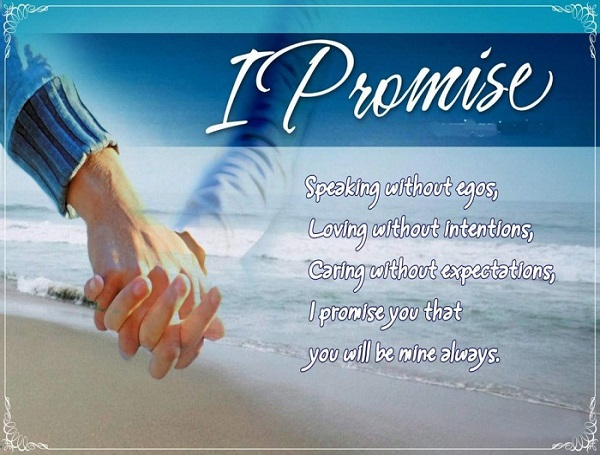 Happy Promise Day speaking without egos inspirational image to a cute lover