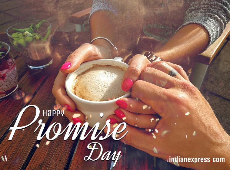 Happy Promise Day with cute image cup of coffee for dear love
