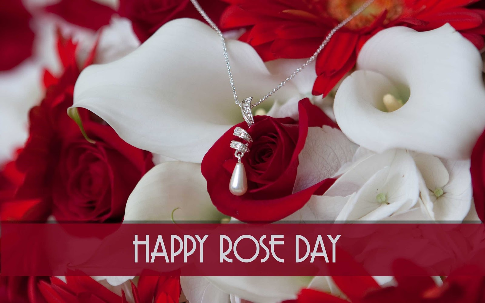 Happy Rose day pretty wallpaper with necklace to your love forever