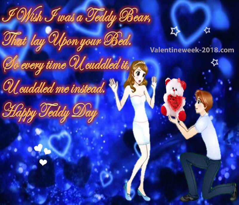 Happy Teddy Day I wish I was a teddy bear pretty images for your valentine quote with love