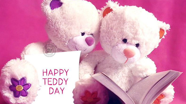 Happy Teddy Day cute pink couple teddy wallpaper for your girlfriend from boyfriend