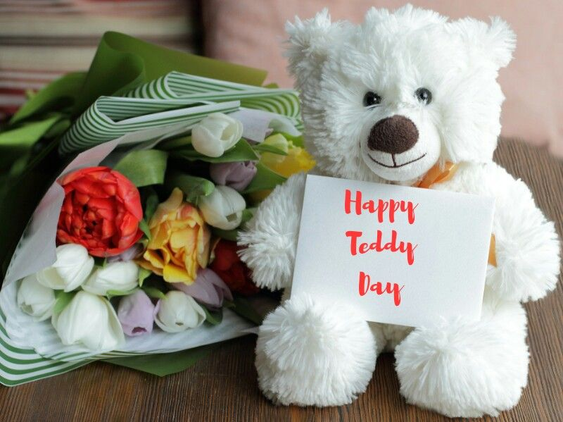 Happy Teddy Day cute white greeting card image for your darling boyfriend from girlfriend