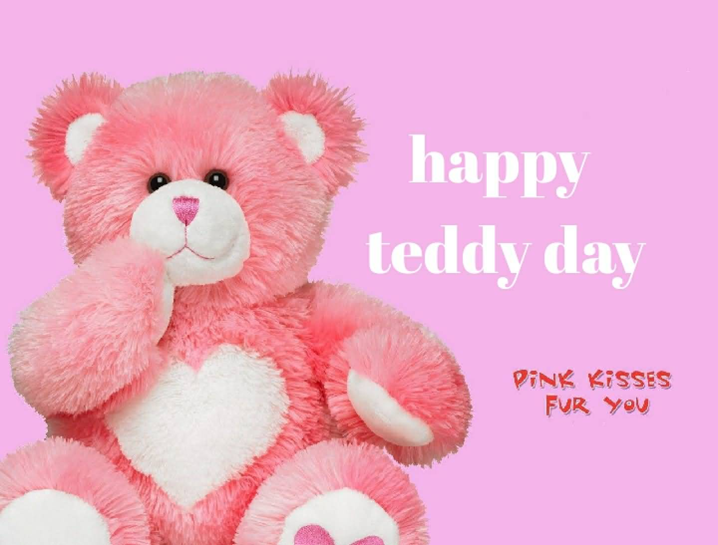 Happy Teddy Day pink kisses for you to your love with perfect teddy image