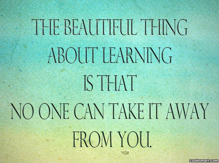 The Beautiful Thing About Learning Education Quotes