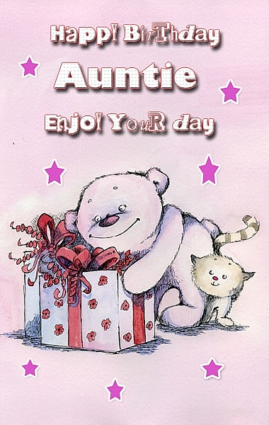 Happy Birthday Auntie enjoy your day cute and sweet greeting card wishes to you