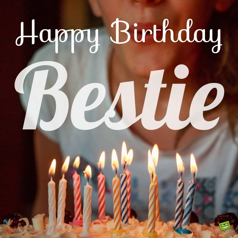 Happy Birthday Bestie lovely candles with amazing background wishes to her