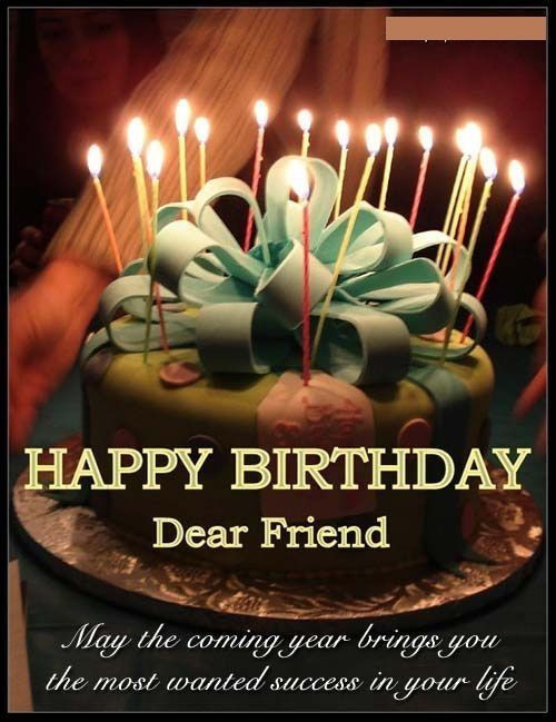 Happy Birthday Dear Friend may the coming year brings you best quote blessing wishes with sweet cake