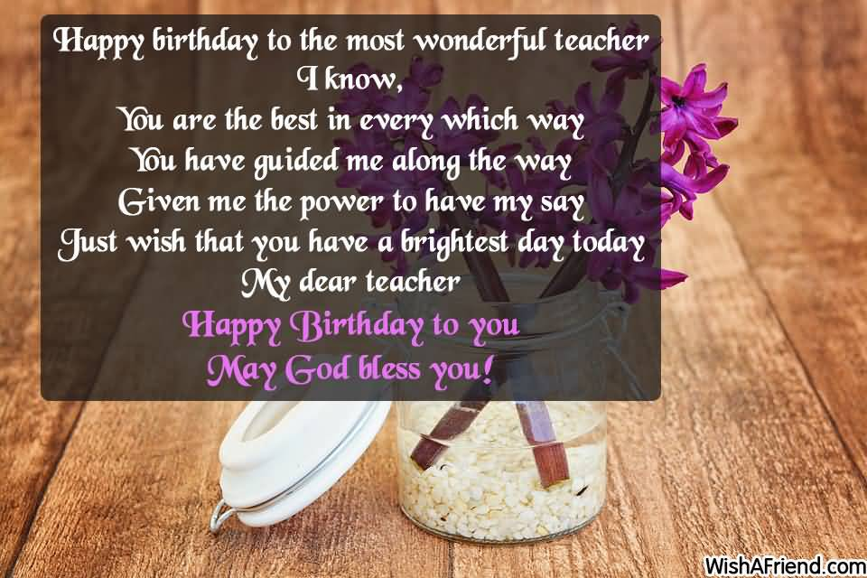 Happy Birthday to the most wonderful Teacher I know beautiful wishes images