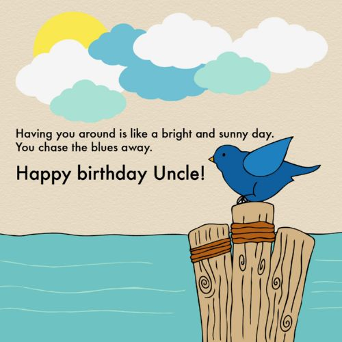 Having you around is like a bright and sunny day. Happy Birthday Uncle sweet bird wishes images
