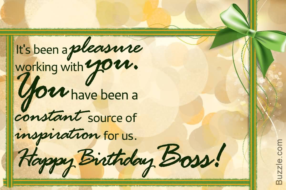It's been a pleasure working with you Happy Birthday dear Boss awesome card messages wish