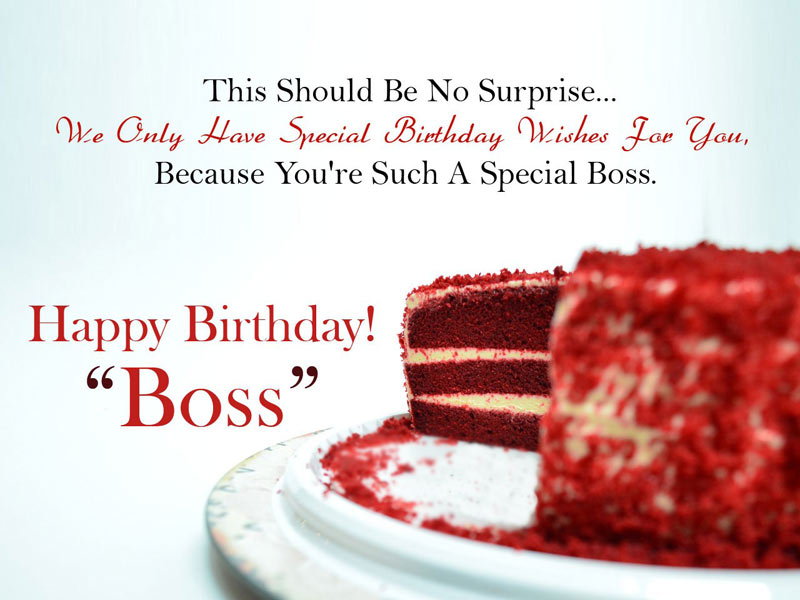 This should be no surprise Happy Birthday Boss special wishes with delicious cake image