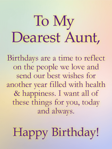 To my Dearest Aunt Happy Birthday awesome message wishes for you