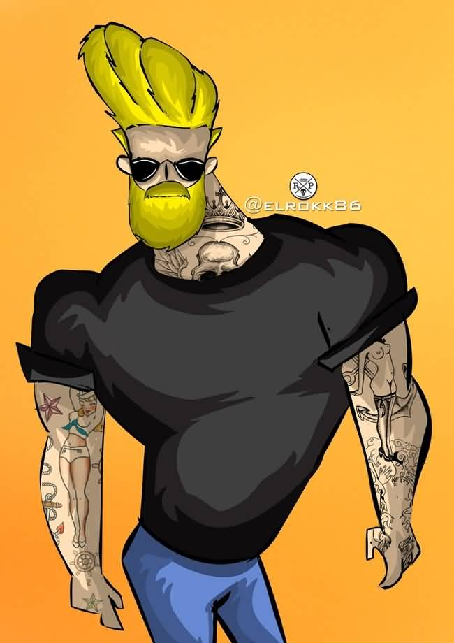 Johnny Bravo With Beard and Tattoos