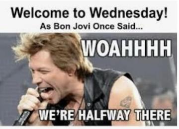 Woahhhh We're Halfway There Hump Day Meme