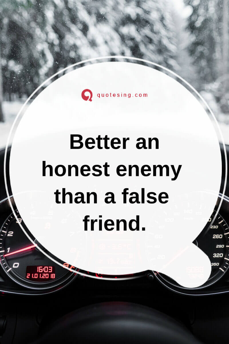 Better An Honest Enemy Fake Friends Quotes