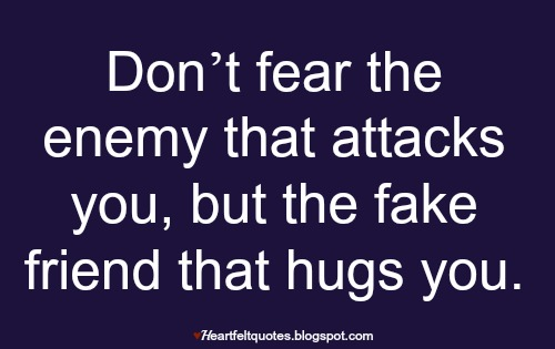 Don't Fear The Enemy Fake Friends Quotes
