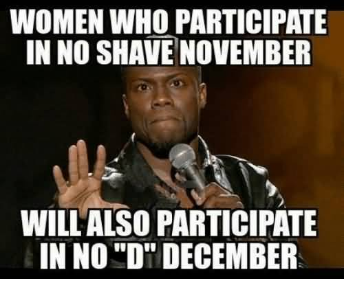 Women Who Participate in No Shave November Will Also Pararicate In No ''D'' December Memes