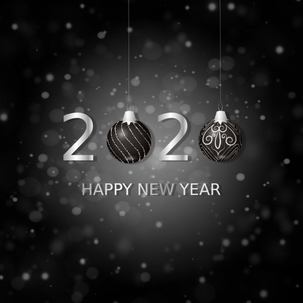 Amazing Black Look 2020 Happy New Year Wishes Wallpaper