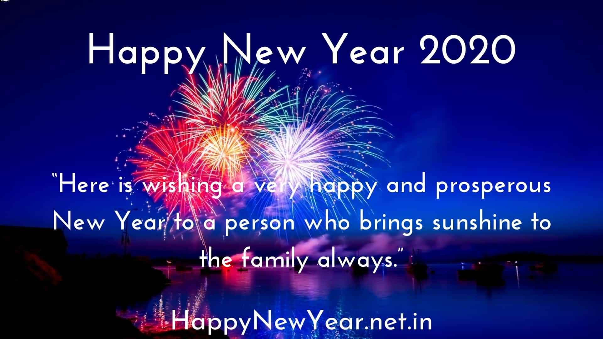 Happy New Year 2020 Here Is Wishing A Very Happy With Blue Background Greetings