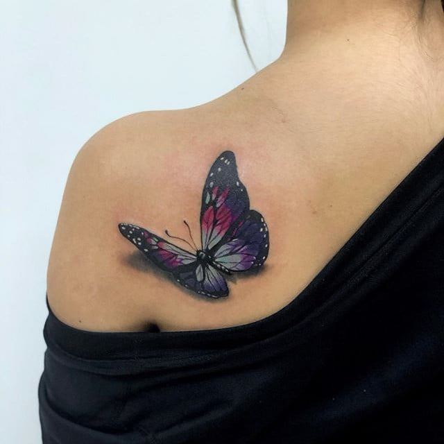 3d Purple Butterfly Tattoo Made On Girl Back Shoulder