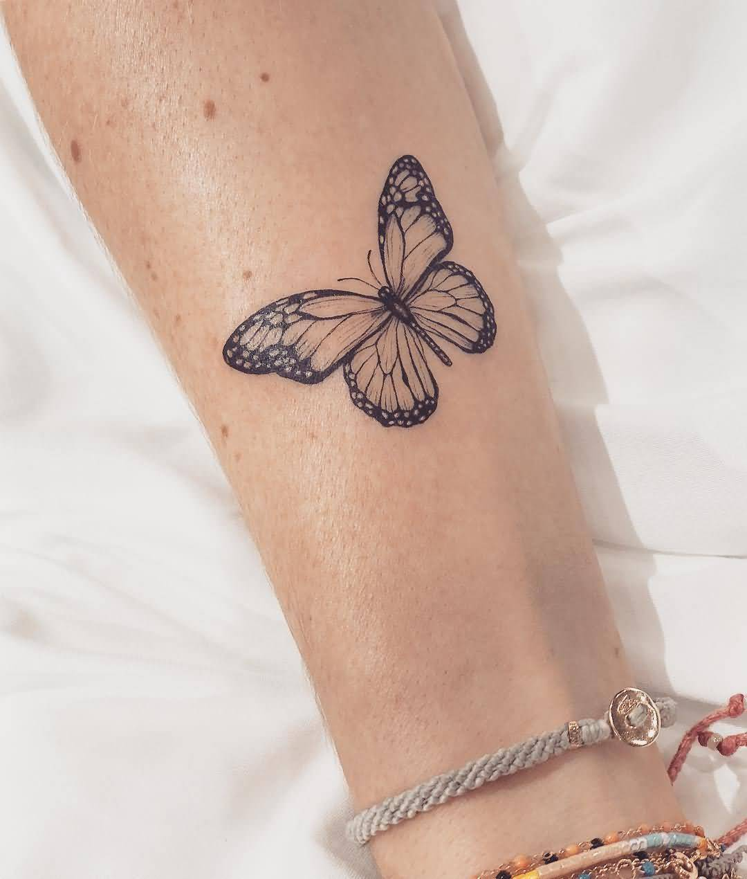 Amazing Butterfly Tattoo Black & White On Arm