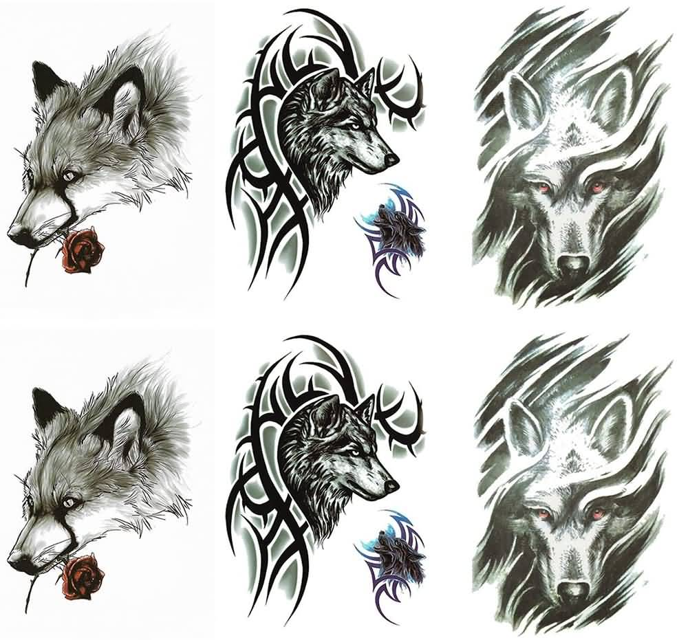 Amazing Wolf Tattoo Design Stencils