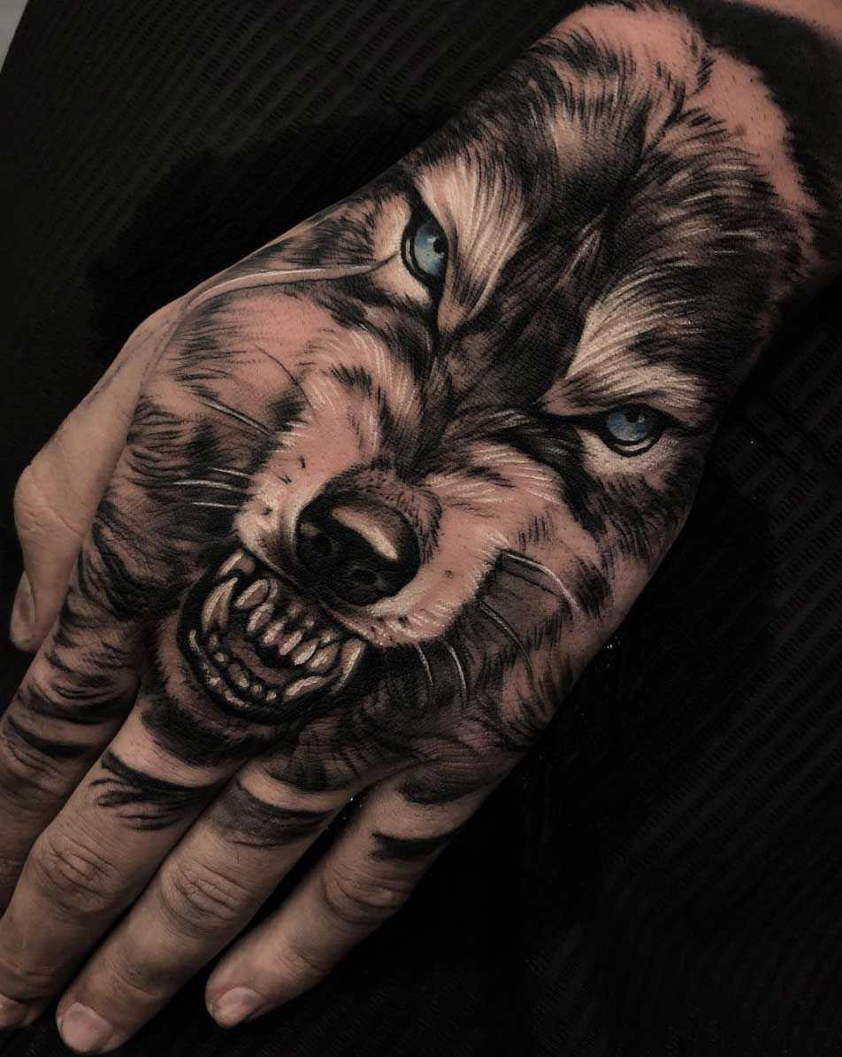 Awesome Wolf Tattoo Art Angry Face On Hand