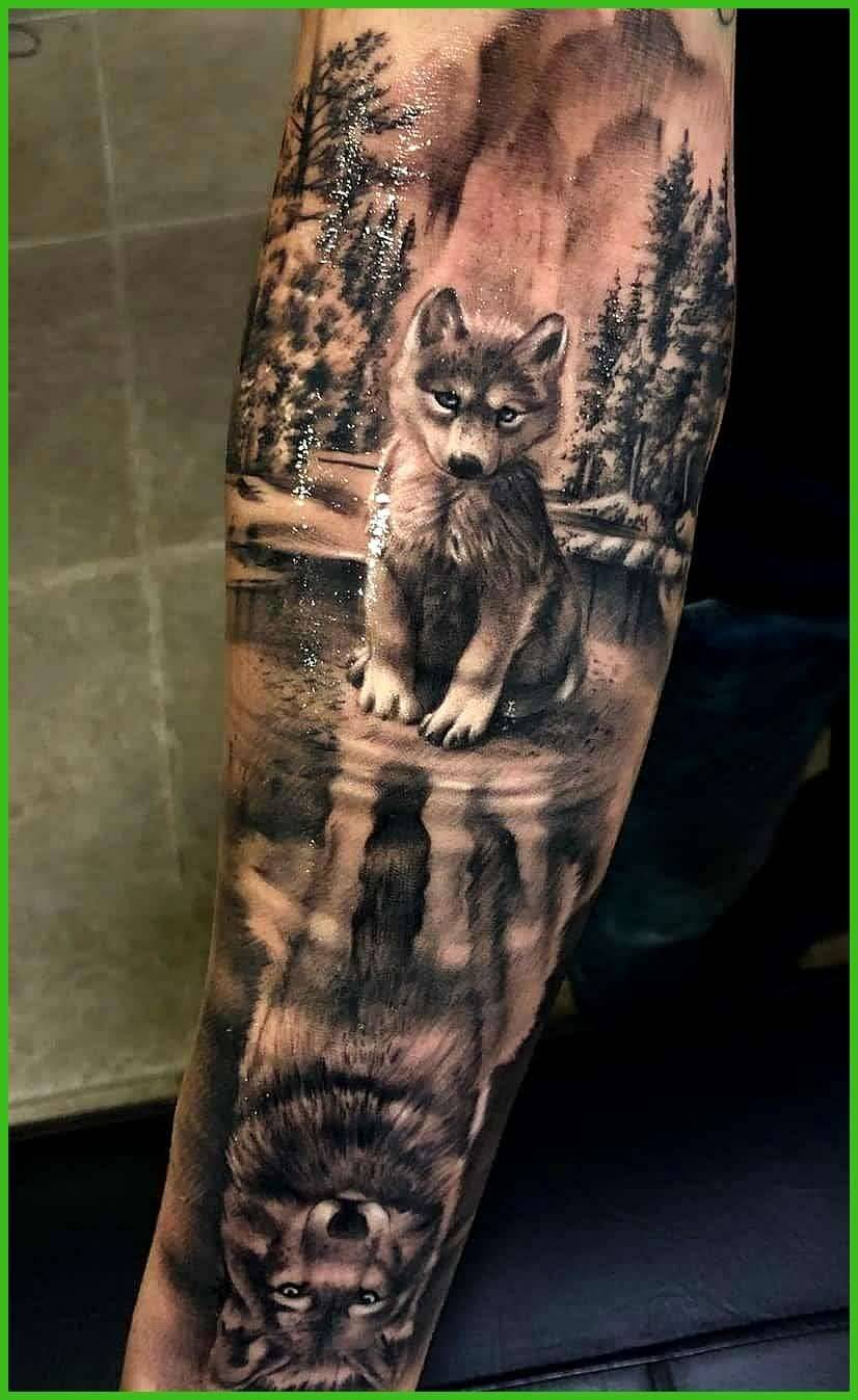 Awesome Wolf Tattoo Design River On Arm