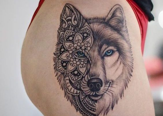 Best Wolf Tattoo Design On Side Hip