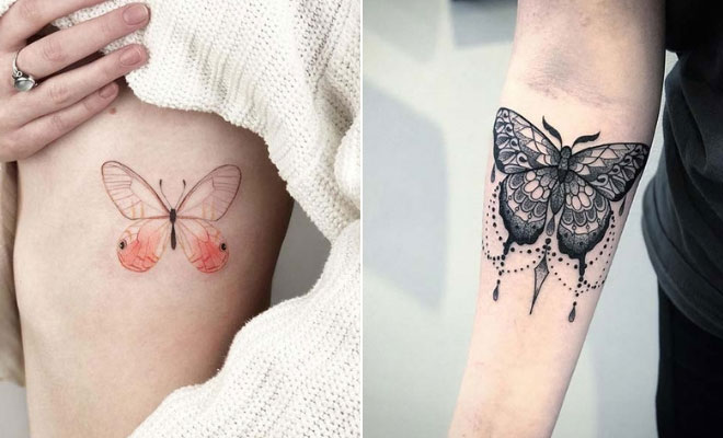 Butterfly and Fish Mix Tattoo For Girl
