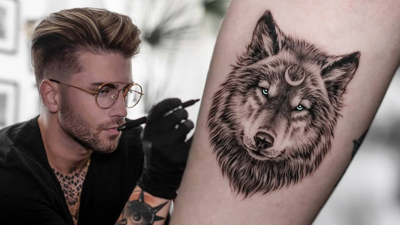 Cute Wolf Tattoo Idea With Moon