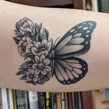 Flower and Butterfly Mix Tattoo