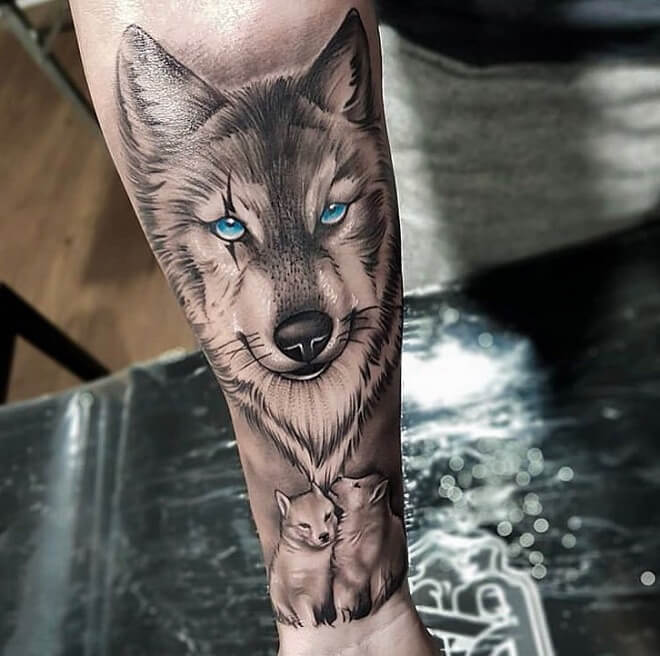 Latest Wolf Tattoo Art Blue Eyes