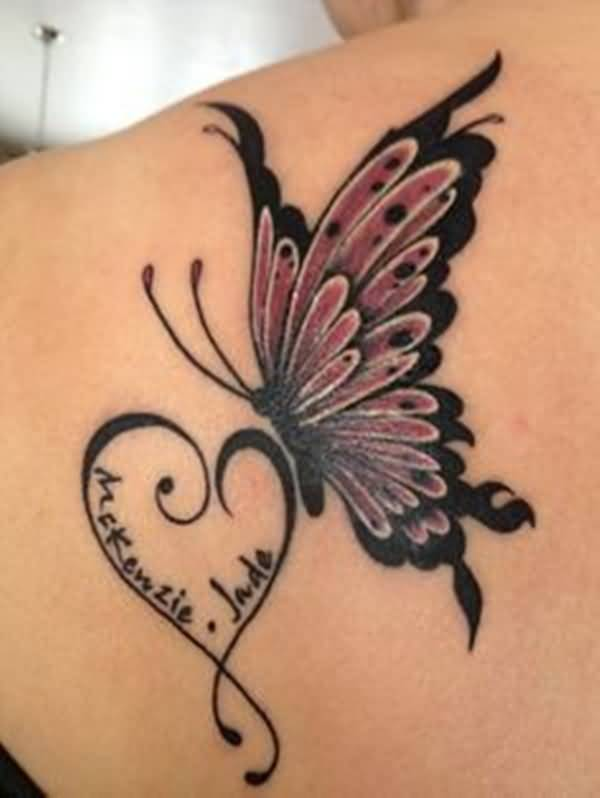 Memorial Flying Butterfly Tattoo With Heart
