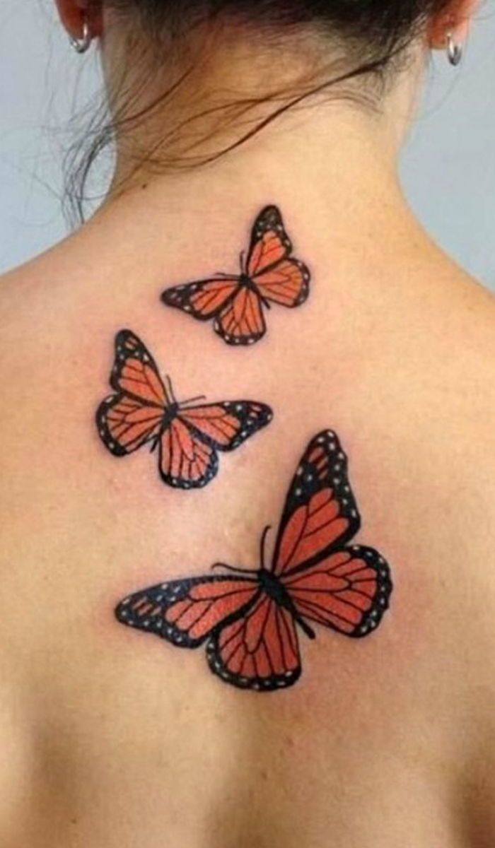 Three Flying Butterfly Tattoo For Women Back