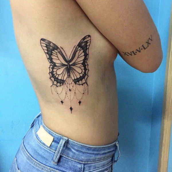 Traditional Ribside Butterfly Tattoo For Women