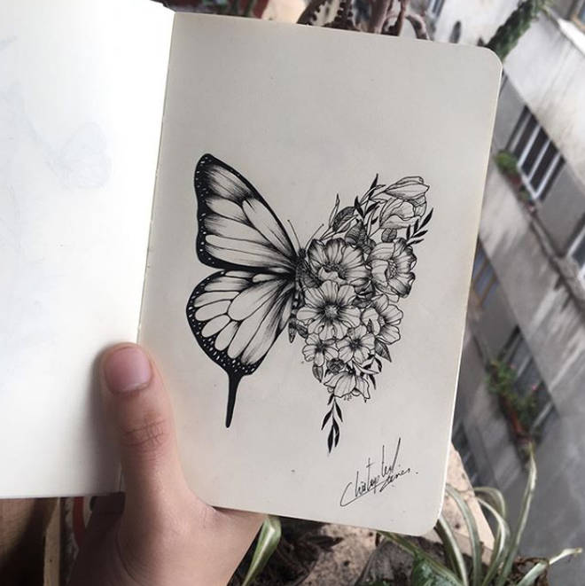 Unique Butterfly Flower Mix Tattoo Stencil