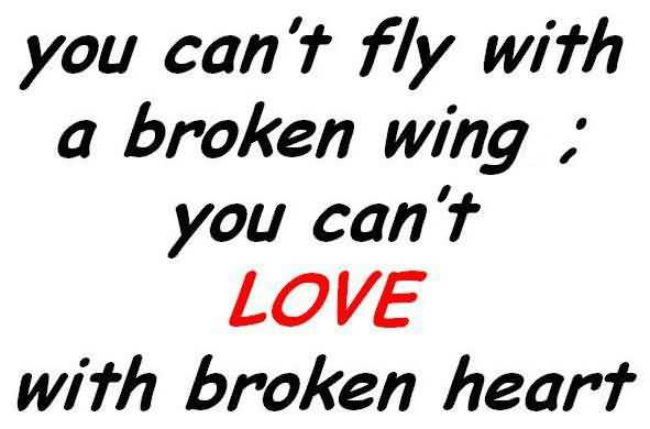 You Can't Fly With Broken Love Life Quotes